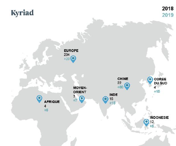Le plan de développement de Kyriad en Asie, en Europe, au Moyen-orient et en Afrique - DR