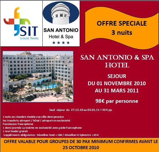 SIT TRAVEL LEISURE : Offre spéciale IFTM Groupes Malte à l'hôtel San Antonio & Spa 3 nuits à partir de 98 euros par personne