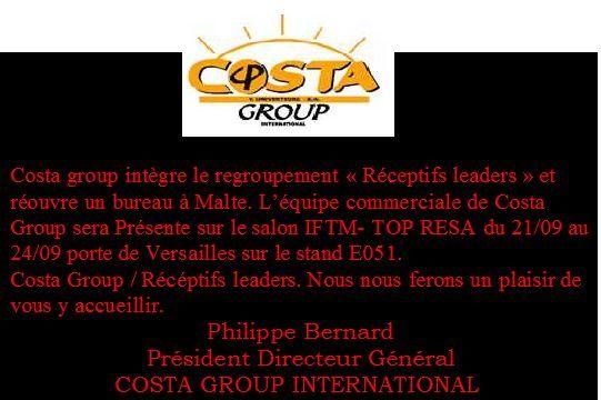 Costa group intègre le regroupement «Réceptifs leaders» et réouvre un bureau à Malte.