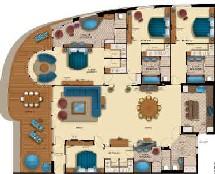 Les plus grandes suites s'étendent sur 230 m2 et disposent de 4 chambres, 4 salles de bains, un bain à remous sur la terrasse privée de 38 m2