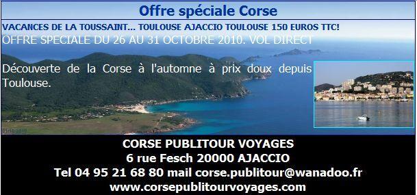 CORSE PUBLITOUR VOYAGES : Offre spéciale Corse Vacances de la Toussaint