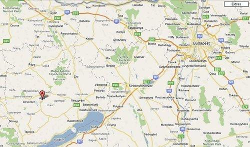Ajka en bas à gauche, ville d'origine de cet accident industriel. Google Maps