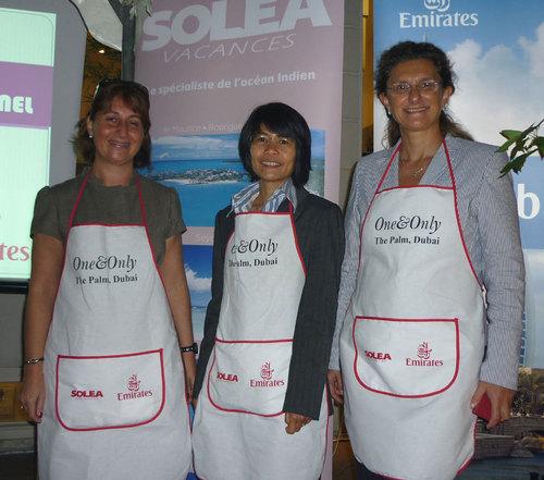 Aux côtés de Nathalie Bueno, directrice commerciale de Solea Vacances, Anne-Marie Coignard (Kerzner International) et Chong Mayupun (Emirates)