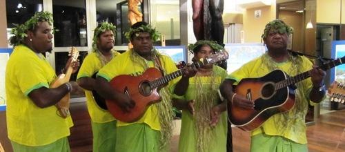Un groupe de musiciens Kanaks s'est produit lors de la soirée à la Maison de la Nouvelle-Calédonie