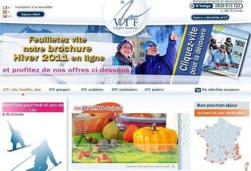 le site internet de VTF Vacances comptabilise 10% des ventes individuelles.