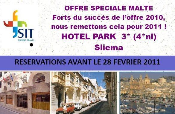 """SIT Travel Leisure : Offre spéciale """" groupes""""  Malte à l'hôtel Park 3* de Sliema"""