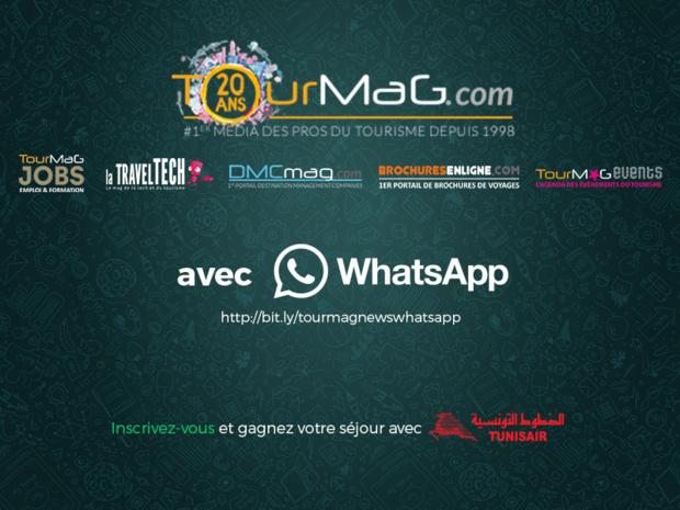 L'inscription aux newsletters du Groupe TourMaG.com sur WhatsApp s'effectue depuis le mobile en cliquant sur le lien suivant : http://bit.ly/tourmagnewswhatsapp