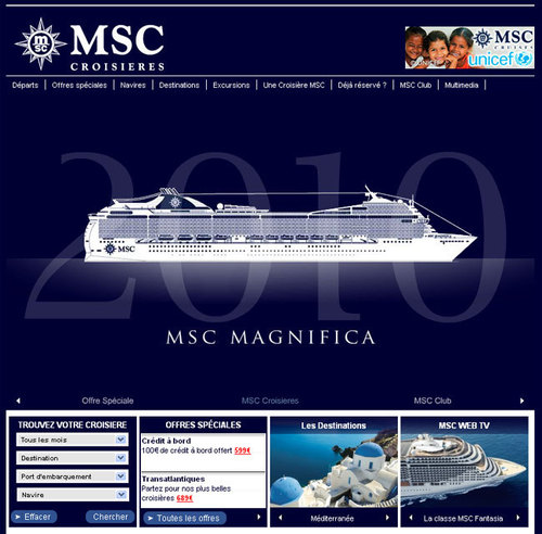 MSC Croisières : nouvelle version du site Internet