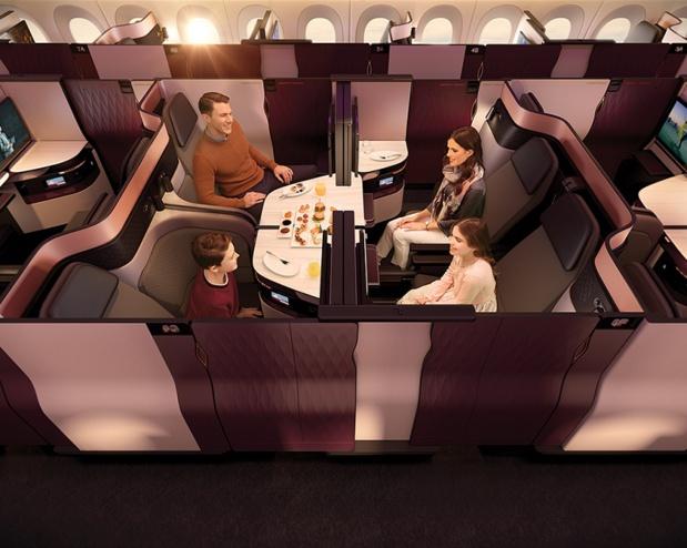 Les Airbus A350-1000 seront équipés de la Qsuite : cabine entièrement transformable et modulable - DR Qatar