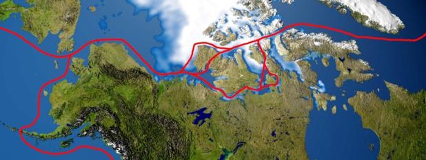 Le passage du nord-ouest est une route maritime qui franchit l'Arctique - image domaine public