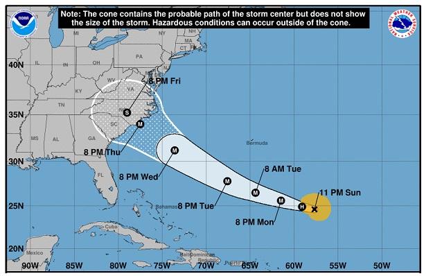 Florence va se renforcer pour devenir un ouragan majeur, et toucher les USA dès le 13 septembre 2018 - Crédit photo : NHC