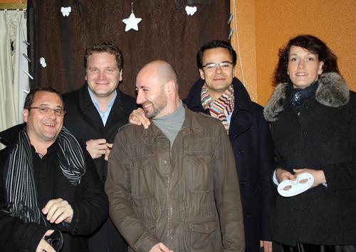 Les anciens élèves de Savignac (de gauche à droite): Philippe BORDES, Marc TANGUY, Olivier DARNAT, Bertrand MOTHE et Marion BURNICHON-TANGUY.
