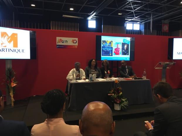 Le comité de direction du Comité martiniquais du tourisme lors d'une conférence de presse, le 26 septembre 2018, à l'IFTM Top Resa. - CL
