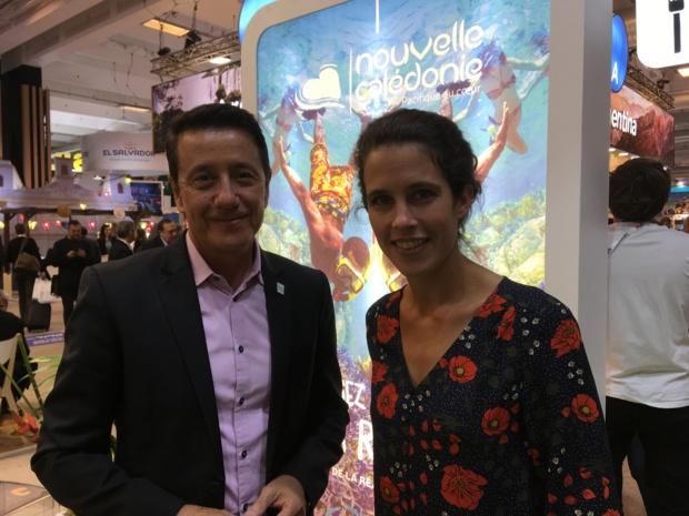 Jean-Marc Mocellin, le directeur général de Nouvelle-Calédonie Tourisme Point Sud et Clémence Castel, de Koh-Lanta et désormais ambassadrice de la destination. - CL