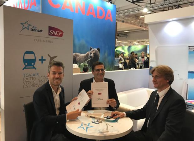 L'accord TGV Air entre la SNCF et Air Transat a été signé jeudi 27 septembre sur l'IFTM Top Resa © PG TM
