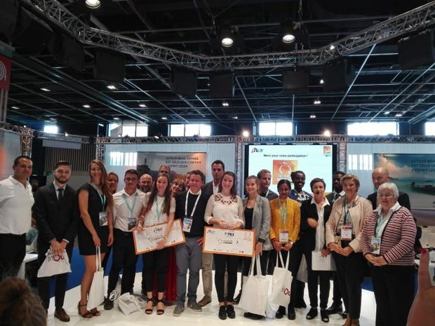 Les finalistes et le jury de la première Travel Agent Cup Junior à l'occasion de l'IFTM 2018 - crédit : TourMaG J.P