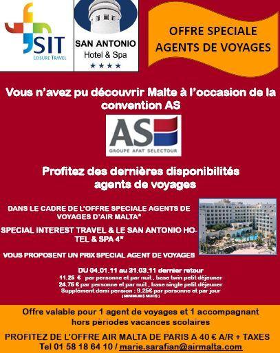 Offre spéciale agences AS Voyages proposée par SIT Malte agence référencée du réseau hôtel San Antonio