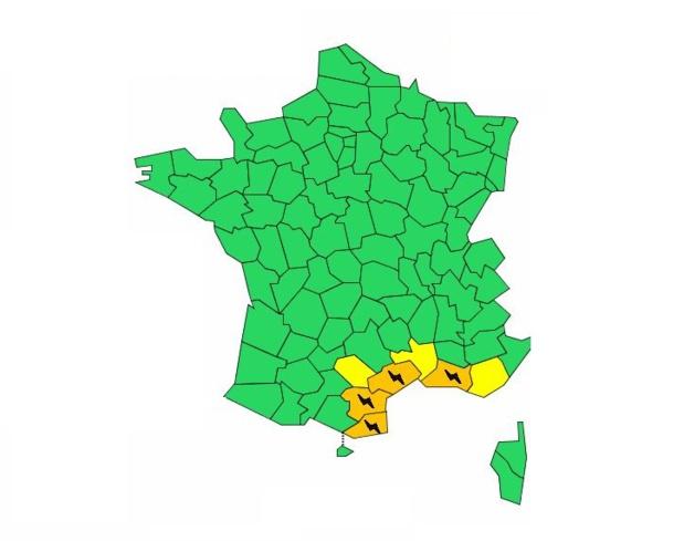 Carte : Météo France - valable jusqu'au 9 octobre 2018 16h