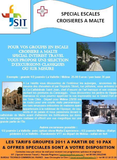 SIT Malte propose pour vos groupes en escale croisière à Malte des excursions classiques et ludiques sur-mesure