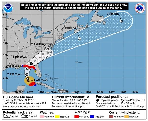 Ouragan Michael, état d'urgence dans l'Alabama et en Floride - Crédit photo : nhc.noaa.gov