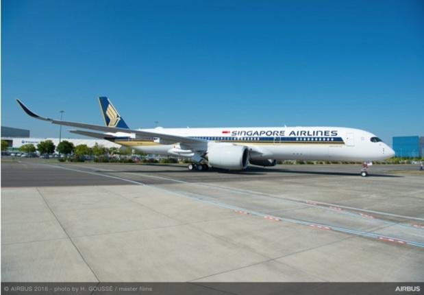 Singapore Airlines avance maintenant son nouveau Airbus A350-900 ULR (pour Ultra long range) qu'elle a réceptionné à la fin du mois de septembre - Photo DR Airbus