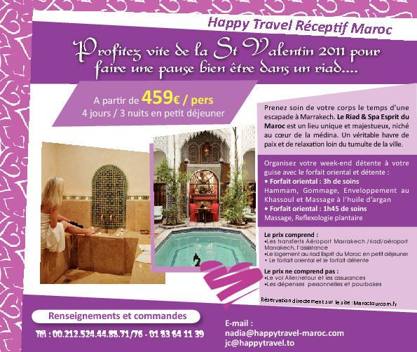 """HAPPY TRAVEL MAROC: Offre spéciale """"SAINT VALENTIN"""" au Maroc à partir de 459€ / par personne  4 jours/ 3 nuits en petit déjeuner"""