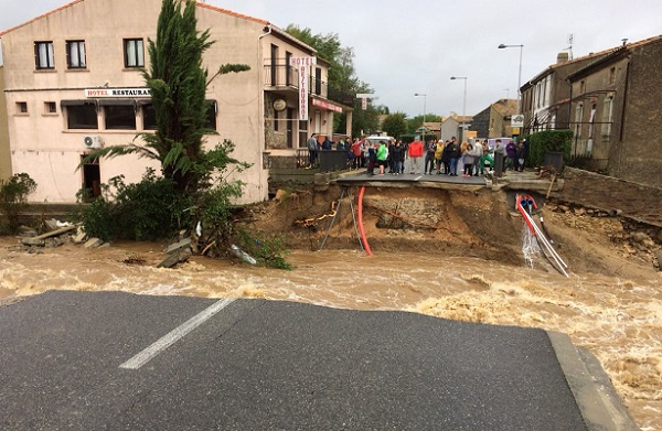 A Villegailhenc dans l'Aude, la pluie a causé des dégâts immenses - Crédit photo : compte Twitter @BenjaminPeter