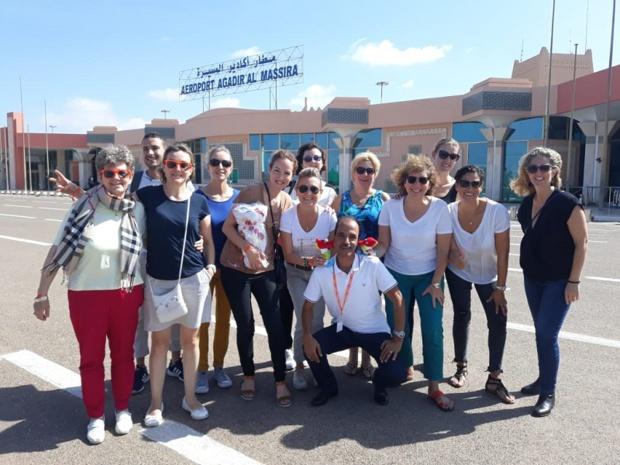 Les 10 conseillères tourisme ont pris la direction d'Agadir, accompagnées de leur animatrice réseau Catherine Arvor et de leurs 3 partenaires : Bravo Club, April et Amérigo - DR : Examonde Voyages