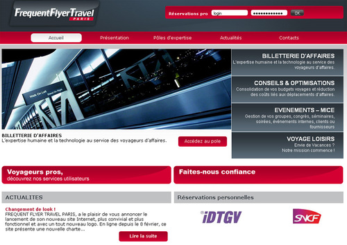Le nouveau site Internet de Frequent Flyer Travel Paris