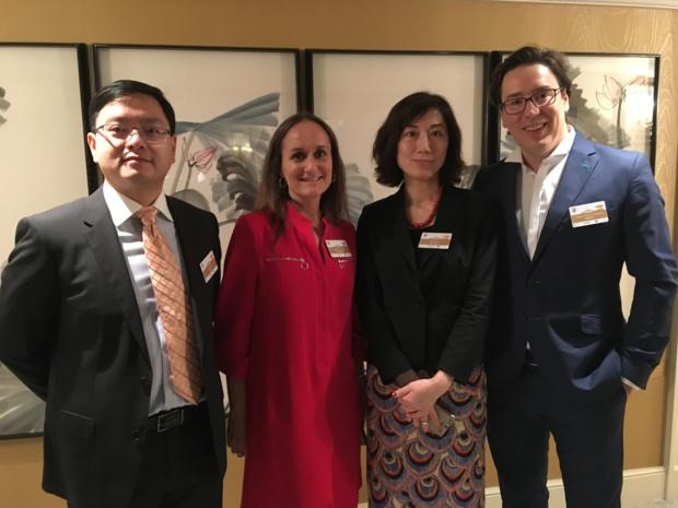 M. MU, directeur de l'OT de Chine à Paris, Candice Saugère, directrice du développement de Shangri-La Hotels, Mme WANG, d'Air China et Frédéric Roman-Hauduroy, directeur général de Step'In - DR : CL