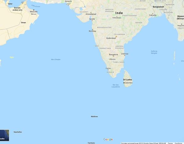 Sri Lanka, le Quai d'Orsay recommande la prudence aux voyageurs - Crédit photo : Google Maps