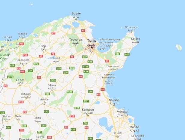 Une femme s'est faite exploser à Tunis ce lundi 29 octobre 2019, vers 14 h 00, faisant 8 blessés parmi les policiers et un citoyen - DR Google Map