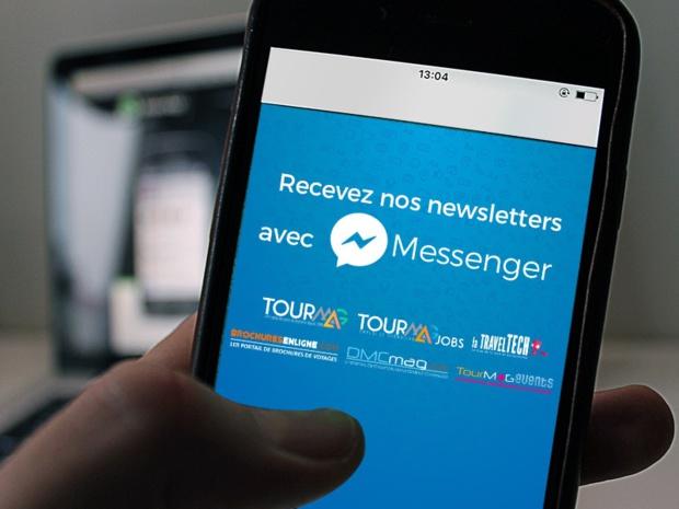 L'inscription aux newsletters du Groupe TourMaG.com sur Mensenger s'effectue depuis le mobile ou en se connectant à la page Facebook dédiée - Photo DR