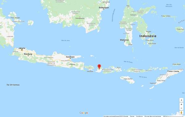 L'île de Lombok particulièrement touchée par les cas de paludisme - Crédit photo : Google Maps
