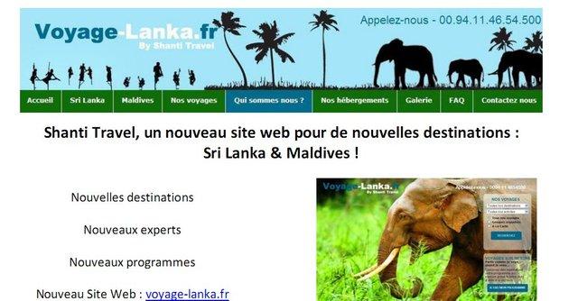 SHANTI TRAVEL,  Nouveau site Internet - Shanti Travel au Sri Lanka