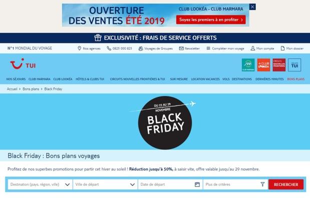 TUI a prévu une opération spéciale pour le Black Friday du 23 au 29 novembre 2018 - DR