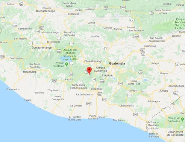 Le volcan Fuego est entré en éruption au Guatemala - DR Google Maps