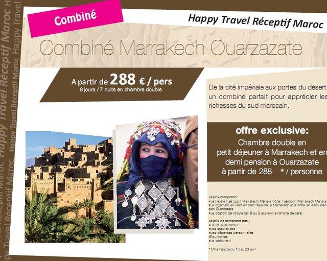 Happy Travel Maroc : Combiné Marrakech Ouarzazate à partir de 288€/personne 8 jours/7 nuits en chambre double