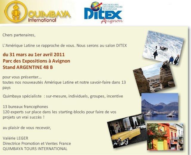 Quimbaya Tours vous donne rendez-vous au salon Ditex du 31 mars au 01 Avril 2011 au stand Argentine 48B