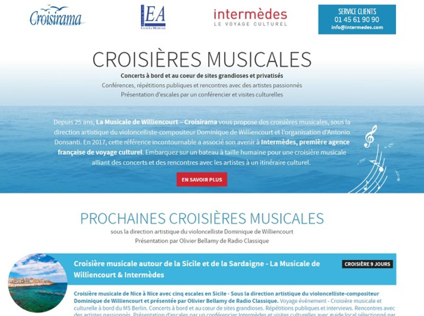 Intermèdes a repris la marque de croisières musicales Croisirama en septembre 2017 - DR : capture d'écran Croisirama