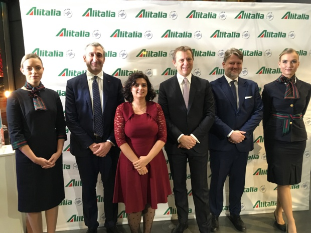 Alitalia a organisé, lundi 3 décembre 2018, un roadshow à Paris, en présence d'Aldo D'Elia, country manager, Claudia Tiddia, sales manager, Nicola Bonacchi, VP International Leisure & international markets et Marco Cefoli, Head of Italy & North Europe Sales. - CL