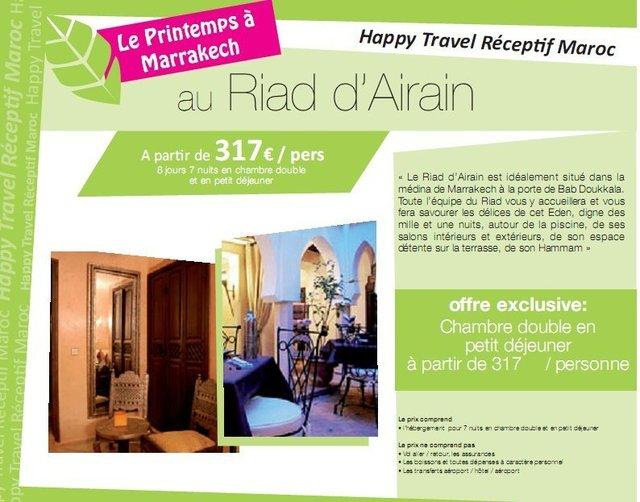 Le printemps à Marrakech avec Happy Travel Maroc au Riad d'Airain à partir de 317€/personne 8 jours/7 nuits en chambre double et en petit déjeuner