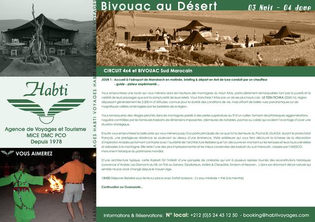 HABTI VOYAGE VOUS PRESENTE SA BROCHURE BIVOUAC AU DESERT 4 jours / 3 nuits