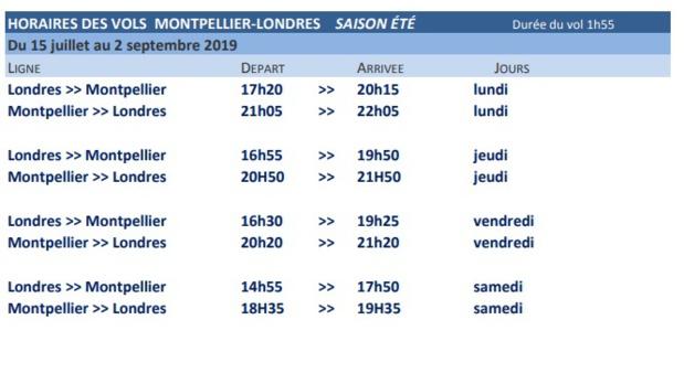 Les horaires des vols de British Airways depuis Montpellier - Crédit photo : Aéroport de Montpellier