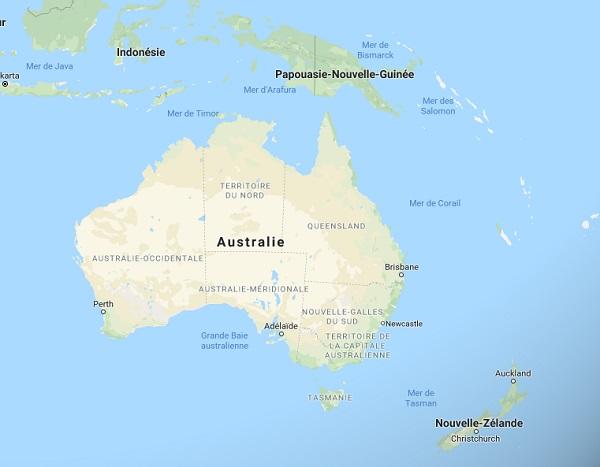 Saison cyclonique en Australie : Certaines régions au Nord (Northern Territory et Queensland) et à l'Ouest (Western Australia) sont particulièrement concernées - Google Map