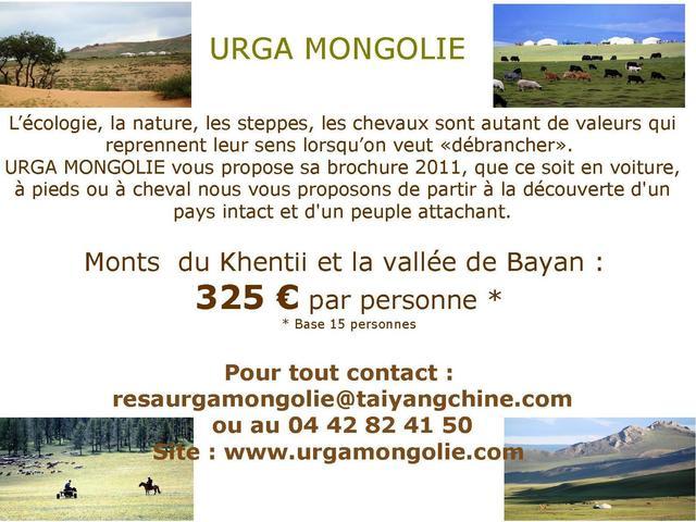 URGA MONGOLIE Votre réceptif francophone spécialiste de la Mongolie vous présente: