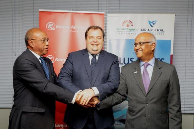 Marie Joseph Malé, Président Directeur Général d'Air Austral, Rolland Besoa Razafimaharo, Directeur Général d'Air Madagascar et Sebastian Mikosz, Président Directeur Général de Kenya Airways - DR
