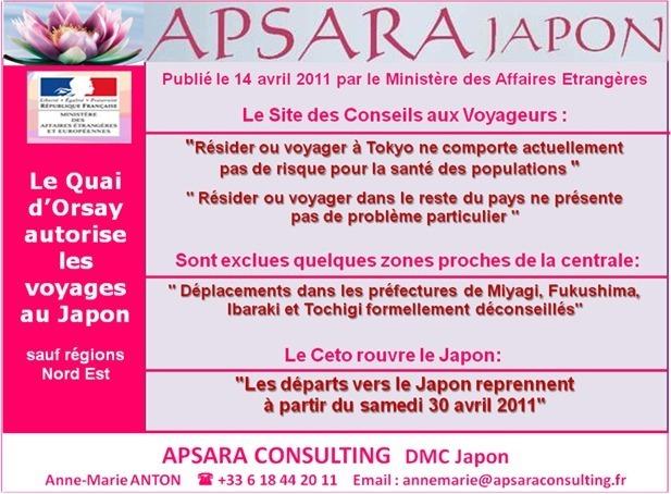 APSARA CONSULTING: LES VOYAGES AU JAPON DE NOUVEAU AUTORISES !