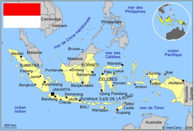 L'Indonésie pays aux 17000 îles et le détroit de la Sonde. /crédit carte Intercarto