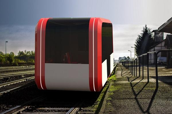 Le Taxirail imaginé par Régis Coat sera commandé par les usagers via une application, première commercialisation estimée en 2023 - Crédit photo : Exid C&D